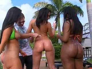 Big tittied and round assed ladies get nailed before camera