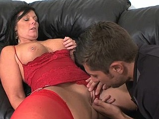 Hugecocked boyfrend licks and bangs muff of raunchy girlfriend