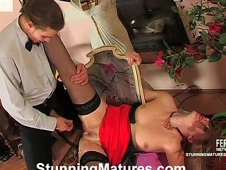 Sultry older chick working her tongue around rocky pole craving for dicking